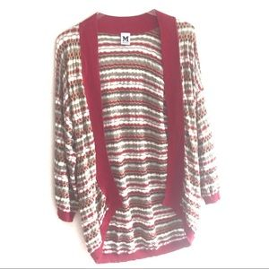 M Missoni Red Open Knit Cocoon Cardigan Sweater 44